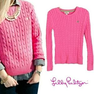 Lily Pulitzer Pink Cable Knit Pull Over Sweater